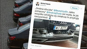 Rozbity samochód z kolumny rządowej , którą podróżowała Beata Szydło