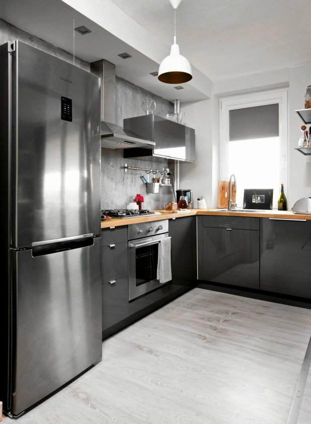 Szara kuchnia w bloku -> Kuchnia Grafitowo Szara