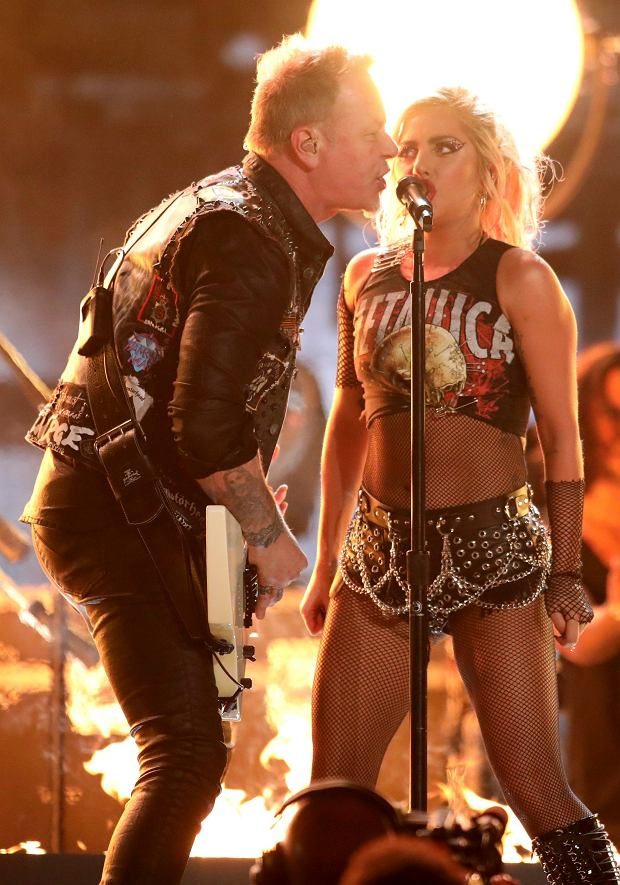 Lady Gaga, right, and James Hetfield of 'Metallica' perform 'Moth Into Flame' at the 59th annual Grammy Awards on Sunday, Feb. 12, 2017, in Los Angeles. (Photo by Matt Sayles/Invision/AP)