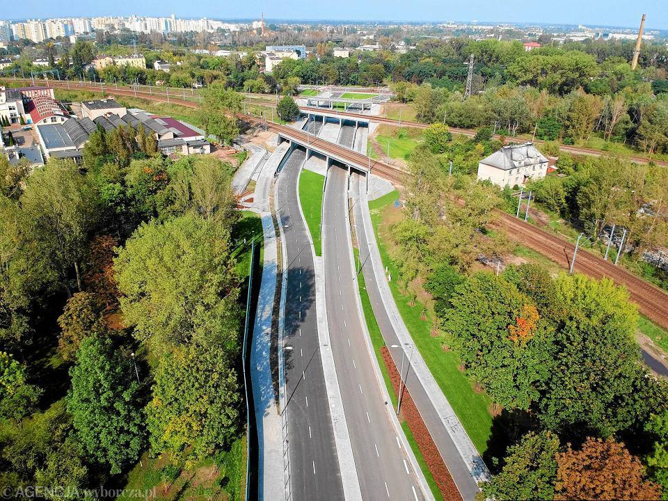 Widok z powietrza na ukończoną budowę Trasy Świętokrzyskiej