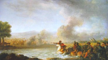 'Bitwa pod Warką' pędzla XVIII-wiecznego malarza Franciszka Smuglewicza. 7 kwietnia 1656 r. pod Warką wojska Rzeczypospolitej po raz pierwszy od początku potopu pokonały Szwedów w walnej bitwie. Karol X Gustaw został osaczony w widłach Wisły i Sanu, a z Warszawy szedł mu z odsieczą książę badeński Fryderyk VI. To właśnie jego Stefan Czarniecki i Jerzy Lubomirski pokonali pod Warką.