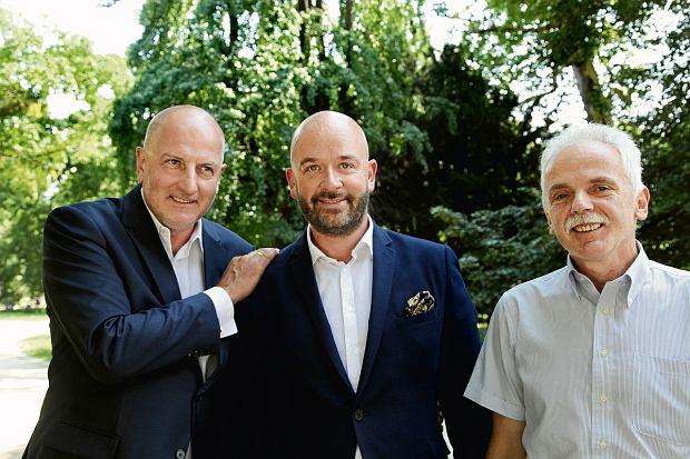 Jacek Sutryk (w środku), kandydat na prezydenta Wrocławia, w towarzystwie Stanisława Huskowskiego (z prawej), który pełnił ten urząd w latach 2001-02 i Rafała Dutkiewicza, rządzącego miastem od 16 lat.