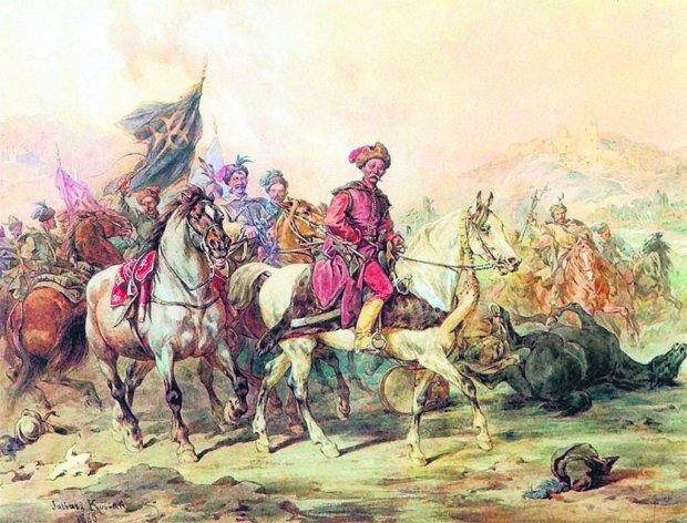 Płaszcze opięte, czapki wysokie, pludry wąskie jak rękaw, buty żółte, podkute, zbroi nie mają, siodła małe, dziw, że z nich nie spadną - opisywał lisowczyków ich kapelan ks. Wojciech Dembołęcki. Na ilustracji lisowczycy tak jak ich sobie wyobraził Juliusz Kossak (1824-1899).