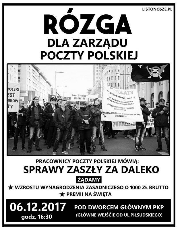 Mikołajkowy protest pracowników Poczty Polskiej we Wrocławiu będzie miał miejsce o godz. 16.30 przed Dworcem Głównym PKP