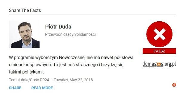 Piotr Duda - wypowiedź zweryfikowana przez serwis Demagog.org.pl