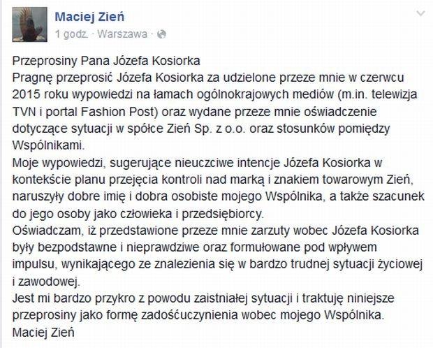 Przeprosiny Przeprosiny Pana Józefa Kosiorka zamieszczone przez Macieja Zienia