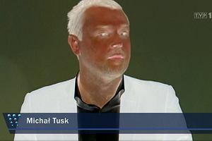 Efekty specjalne w materiale Wiadomości o Michale Tusku. Negatyw i niepokojące dźwięki