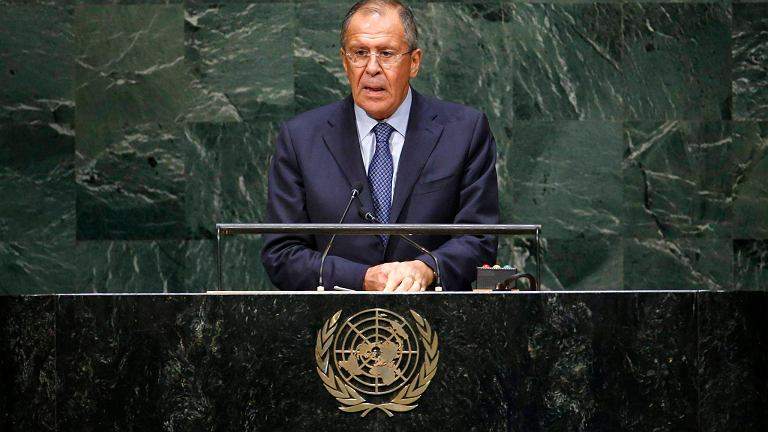 Siergiej Ławrow podczas przemówienia w ONZ
