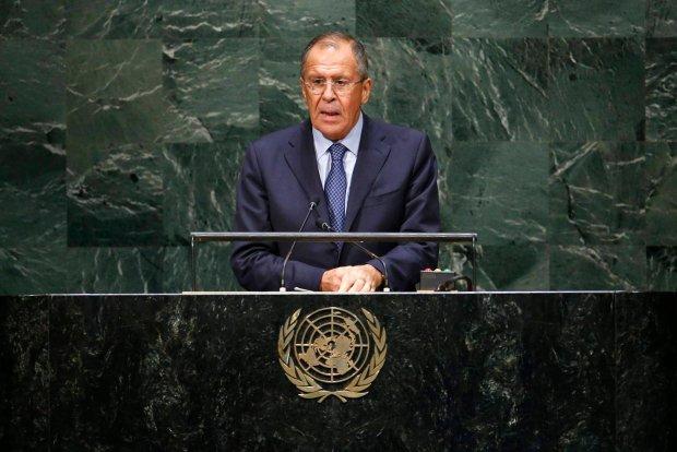 Siergiej �awrow podczas przem�wienia w ONZ
