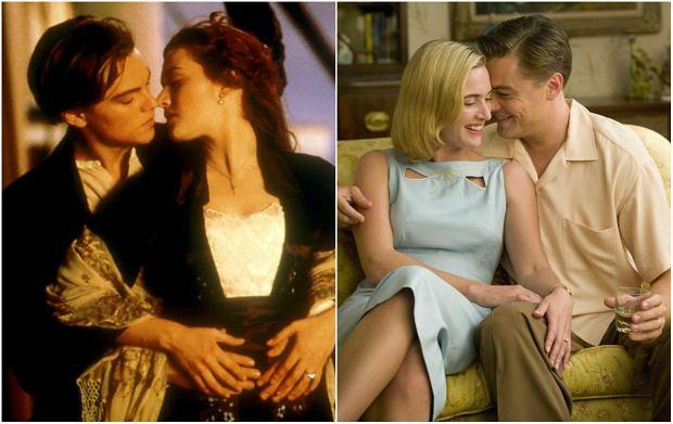 """Kate Winslet i Leonardo DiCaprio w filmach """"Titanic"""" (po lewej) i """"Droga do szczęścia"""" (po prawej)"""