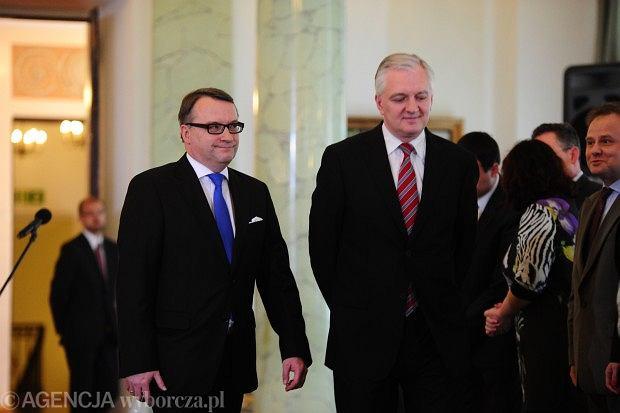 Marek Biernacki i Jaros�aw Gowin podczas nominacji nowego ministra sprawiedliwo�ci
