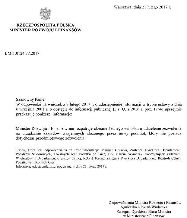 Pismo z Ministerstwa Finansów
