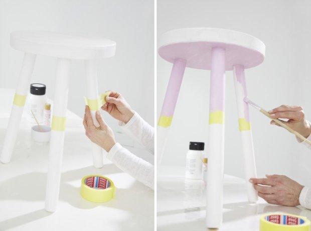 Malowanie nóg stołka.