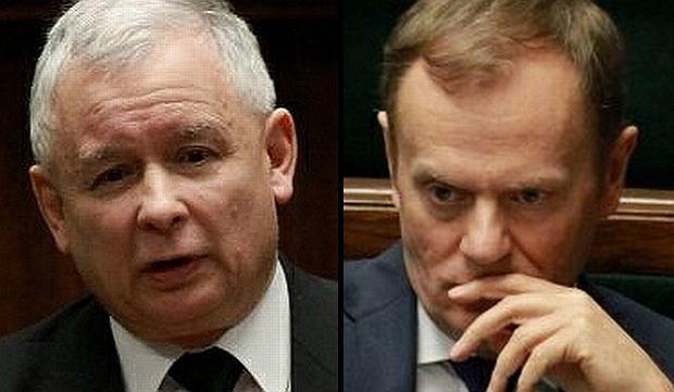 Jaros�aw Kaczy�ski i Donald Tusk