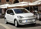 VOLKSWAGEN up!, rok produkcji 2012, coupe, widok przedni prawy, samochód 3-drzwiowy, kolor biały