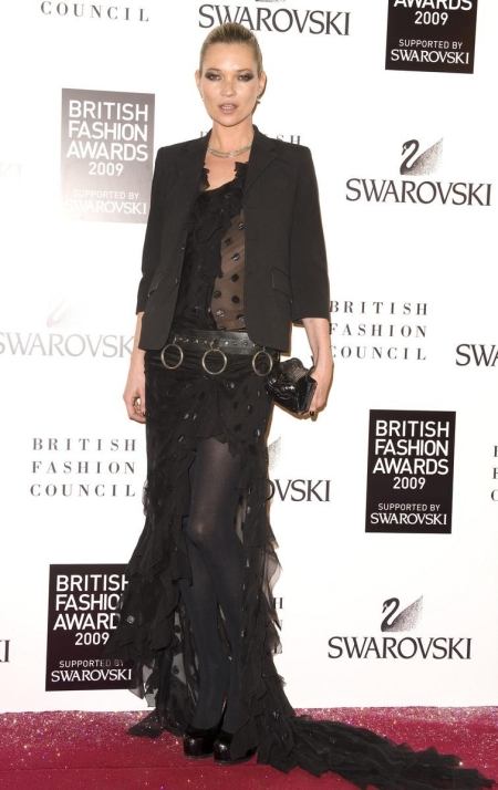 Mandatory Credit: Photo by Jonathan Hordle / Rex Features ( 1057783h )  Kate Moss  British Fashion Awards 2009 red carpet arrivals, London, Britain - 09 Dec 2009