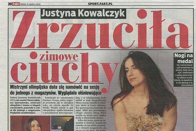 Sesja zdjęciowa Justyny Kowalczyk Fot. za Fakt, 31 marca 2010