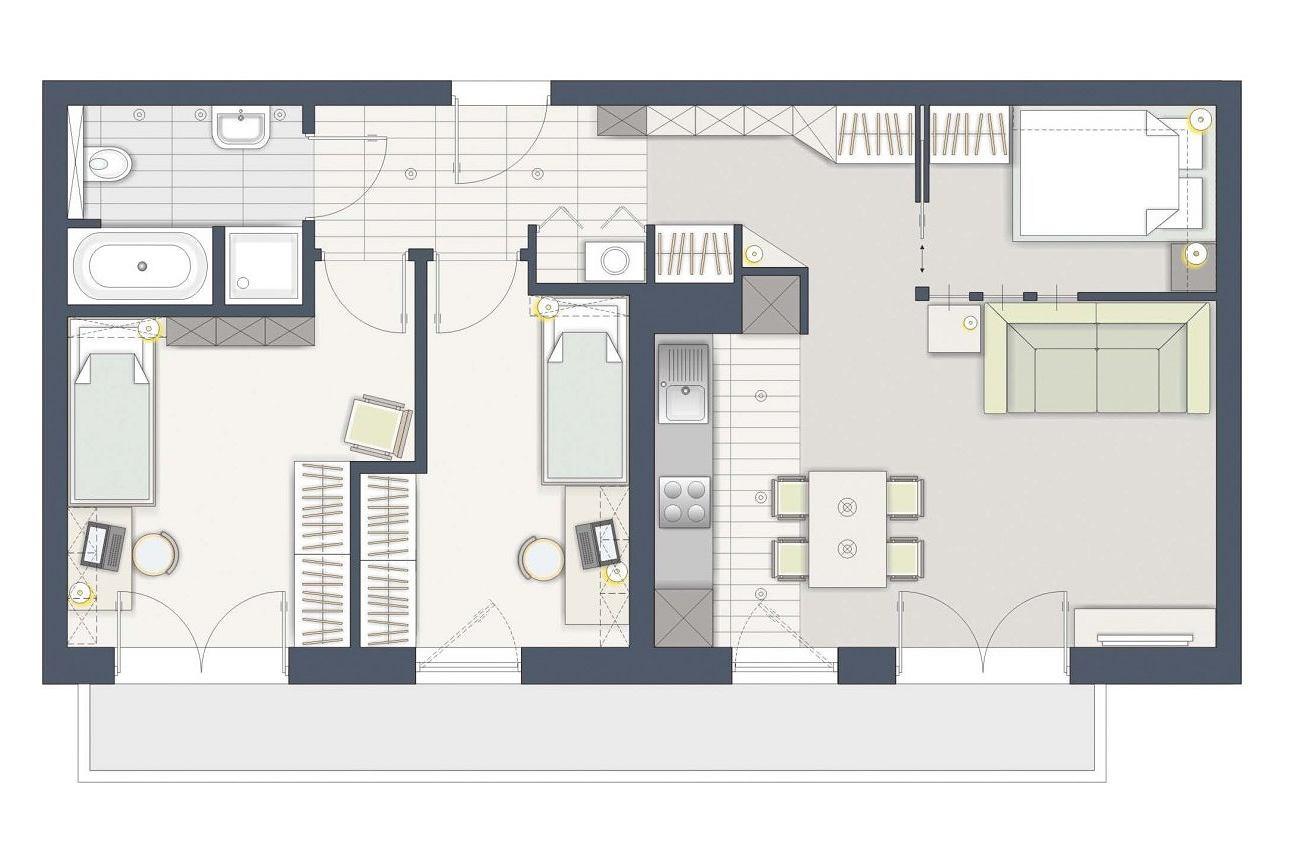 czy da si wydzieli trzy sypialnie na 61 m kw. Black Bedroom Furniture Sets. Home Design Ideas