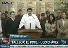 Wiceprezydent Nicolas Maduro  informuje o śmierć prezydenta Hugo Chaveza w Caracas, Wenezuela. Screen z  wenezuelskiej Telesur