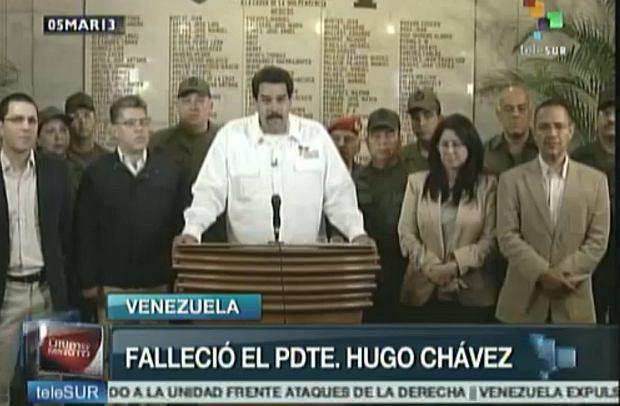 Wiceprezydent Nicolas Maduro  informuje o �mier� prezydenta Hugo Chaveza w Caracas, Wenezuela. Screen z  wenezuelskiej Telesur