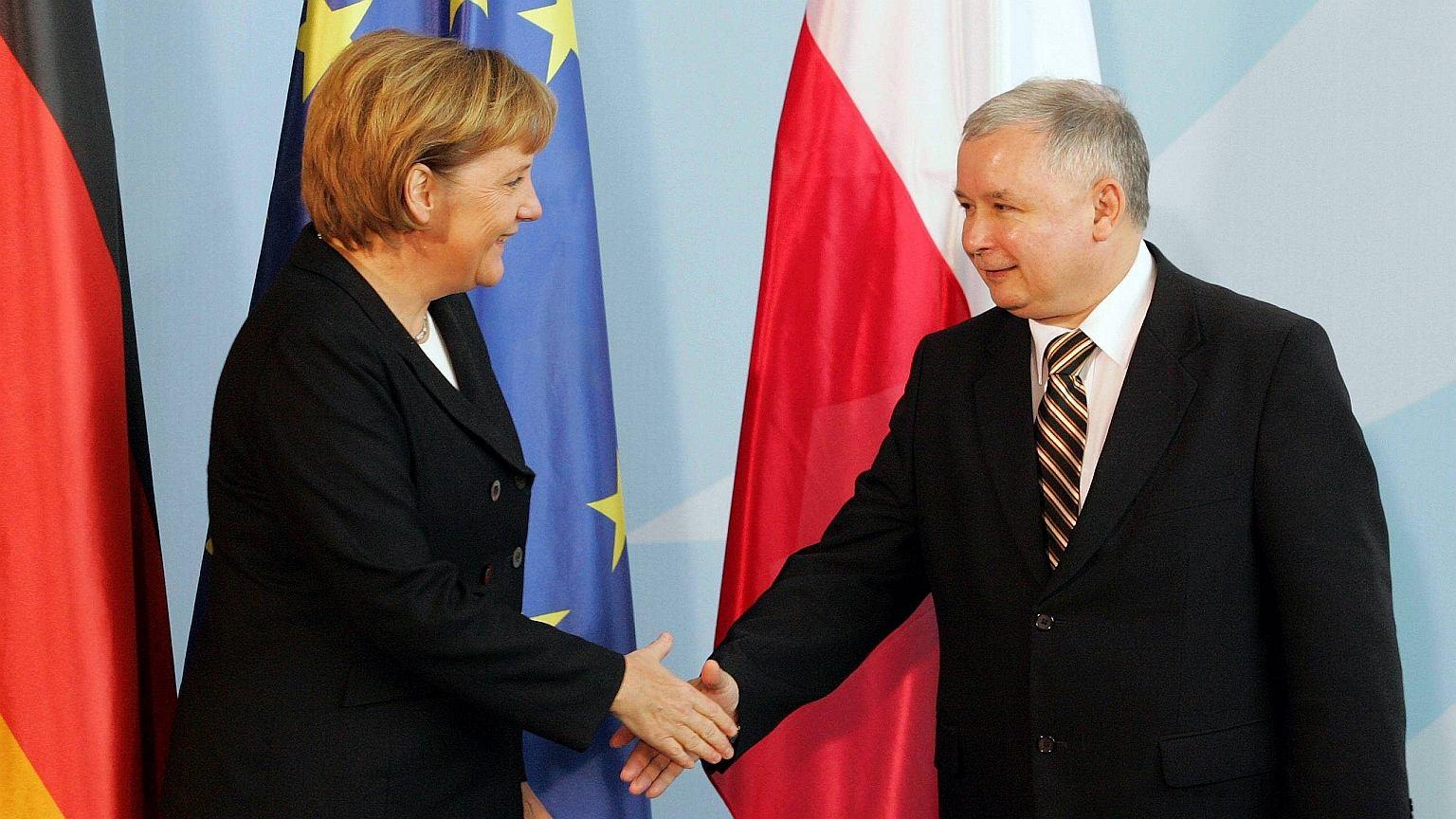 Jarosław Kaczyński jako premier z wizytą w Niemczech (2006 r.)