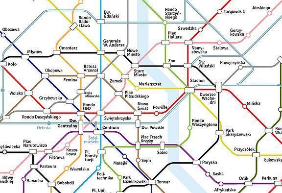 12 linii metra w warszawie niezwyk y projekt grafika schemat