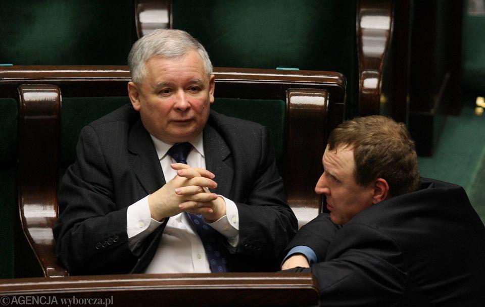 Jarosław Kaczyński i Jacek Kurski w Sejmie