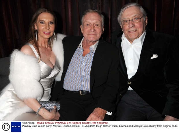 Mandatory Credit: Photo by Richard Young / Rex Features ( 1335785bp )  Hugh Hefner, Victor Lownes and Marilyn Cole (Bunny from original club)  Playboy Club launch party, Mayfair, London, Britain - 04 Jun 2011
