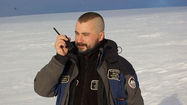 Mikołaj Golachowski podczas swojej pracy na Antarktydzie