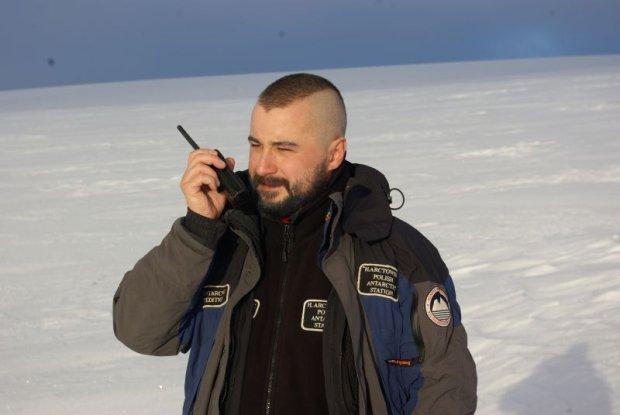 Miko�aj Golachowski podczas swojej pracy na Antarktydzie