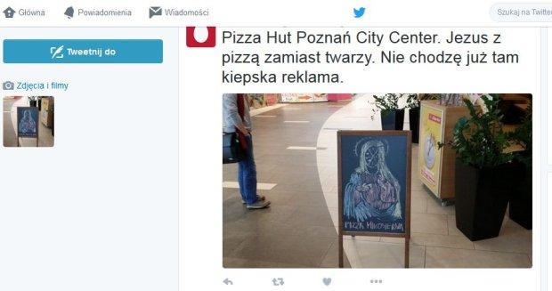 Jezus z pizzą zamiast twarzy zapraszał do Pizza Hut w Poznaniu [ZDJĘCIE]