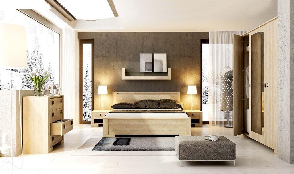 Jasne drewno jest ciepłe i przytulne, a jednocześnie nie dominuje we wnętrzu. Sypialnia NEBRASKA: łóżko (200 x 160 cm) 699 zł, szafka nocna 159 zł, Agata