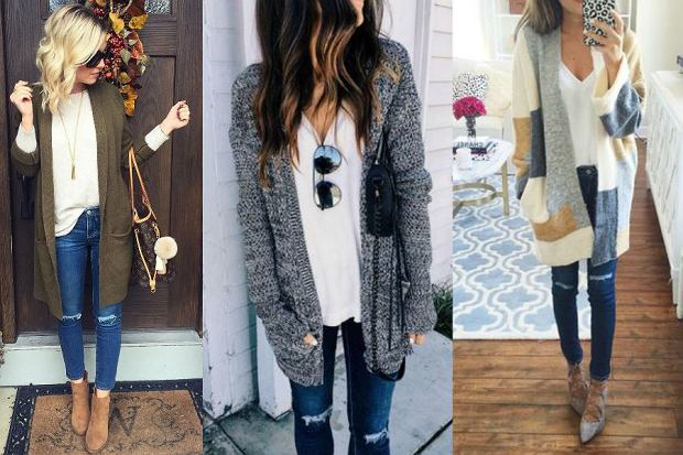 Duet idealny - kardigan i jeansy na zimowe mrozy