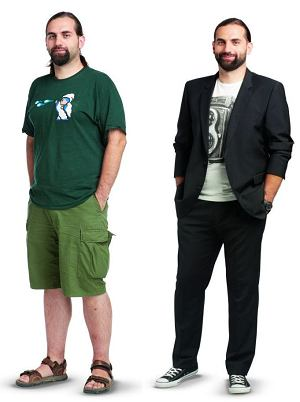 Metamorfozy: nowy styl Łukasza, styl, moda męska, garnitury, koszulki, trampki, Po lewej: Łukasz w zestawie, który dotychczas nosił na co dzień. Stylizacja po prawej: garnitur Strellson. Cena: 1499 zł, koszulka Springfield. Cena: 59 zł, trampki Converse. Cena: 249 zł