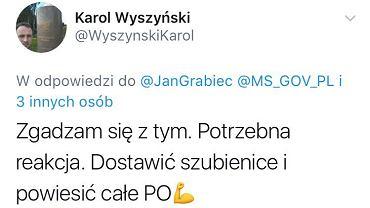 Wpis na Twitterze radnego PiS z Nowogrodu, Karola Wyszyńskiego