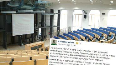 Aula starej Biblioteki Uniwersytetu Warszawskiego i wpis na Facebooku