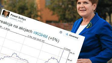 Szyd�o zapowiedzia�a likwidacj� podatku miedziowego. Co z akcjami KGHM? Reakcja by�a natychmiastowa