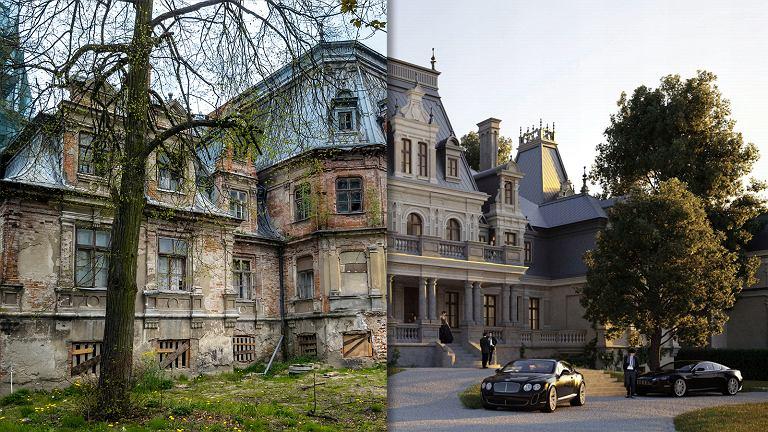 Porównanie pałacu przed remontem z tym, jak ma wyglądać po jego zakończeniu