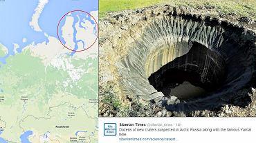 Na Syberii odkryto nowe kratery. Po lewej region Półwyspu Jamalskiego i okolic, w którym powstały kratery. Po prawej krater odkryty w 2014 r.