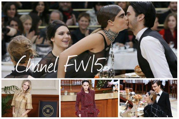 Spektakularny pokaz Chanel jesie�-zima 2015: paryska kafejka na wybiegu, modele w roli barman�w i znamienici go�cie [WYBIEG + GWIAZDY]