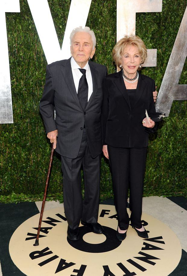 Actor Kirk Douglas, left, and wife Anne Douglas arrive at the 2013 Vanity Fair Oscars Viewing and After Party, Sunday, Feb. 24 2013 at the Sunset Plaza Hotel in West Hollywood, Calif. (Photo by Evan Agostini/Invision/AP)