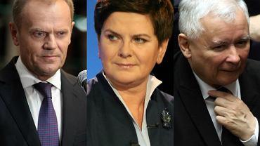 Donald Tusk, Beata Szydło, Jarosław Kaczyński