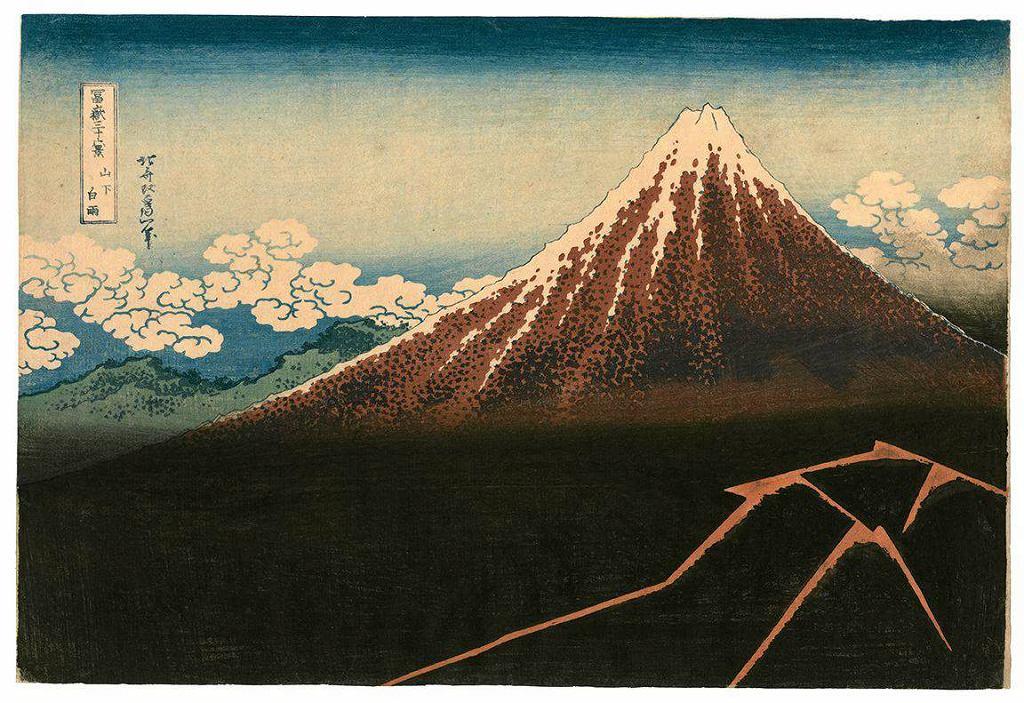 / Katsushika Hokusai. Burza na stoku góry. Z cyklu 'Trzydzieści sześć widoków góry Fuji'. Muzeum Narodowe w Warszawie   ok. 1830-1833