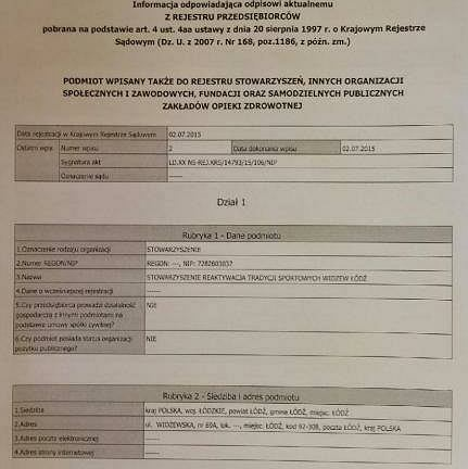 Dokument nowego Widzewa z KRS