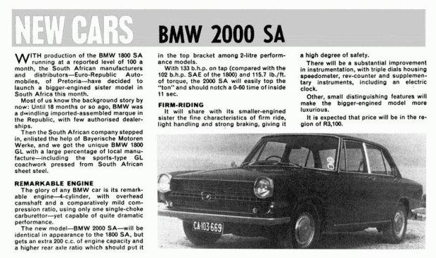 BMW 2000 SA - Glas 1700 z silnikiem BMW na rynek RPA