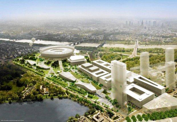 Koncepcja tzw. Stadion City autorstwa pracowni JEMS Architekci, czyli zagospodarowania błoni Stadionu Narodowego, która wygrała konkurs architektoniczny w 2008 r. Planowana hala znajduje się tuż piłkarskiej areny