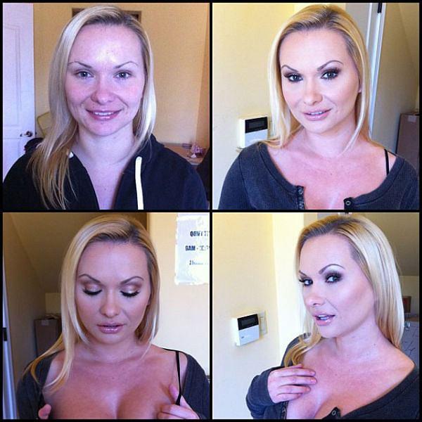 Gwiazdy porno przed i po nałożeniu makijażu. Widać różnicę? Na zdjęciu Katja Kassin