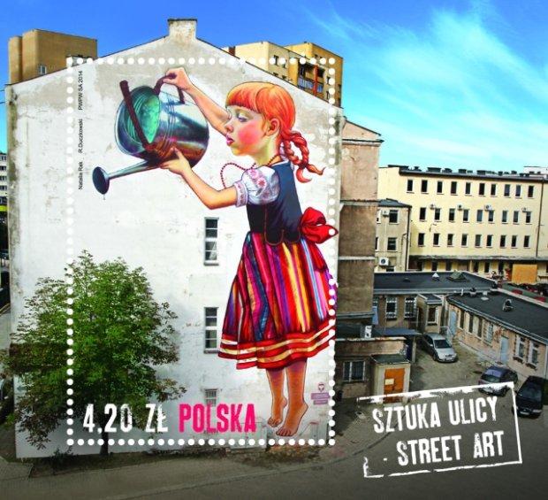 Bia ostocki mural z dziewczynk na znaczku pocztowym for Mural bialystok dziewczynka z konewka