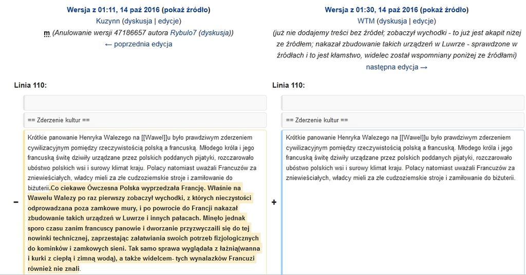 Zrzut ekranu z Wikipedii z historią edycji artykułu