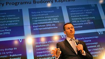 Minister Mateusz Morawiecki podczas konferencji dotyczącej przyszłości emerytur i OFE, Warszawa 04.07.2016 r.